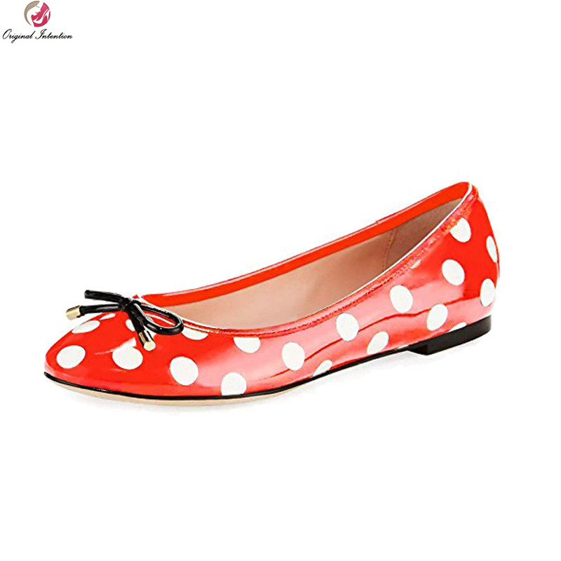Original Intention New Fashion Women Flats Polka Dot Round Toe Flat Shoes Black Beautiful 5 Colors Shoes Woman Plus US Size 4-15 plus size polka dot cold shoulder top