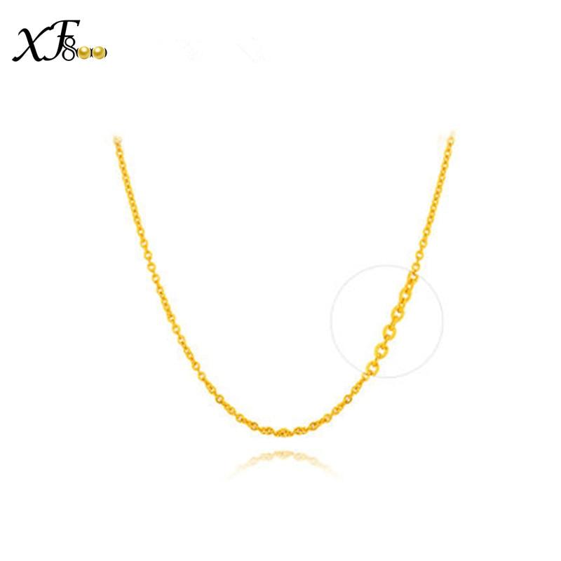 XF800 100% 18 k or collier véritable Au750 or jaune 40 cm/45 cm chaîne mariage fête cadeau romantique pour femmes fille D20601