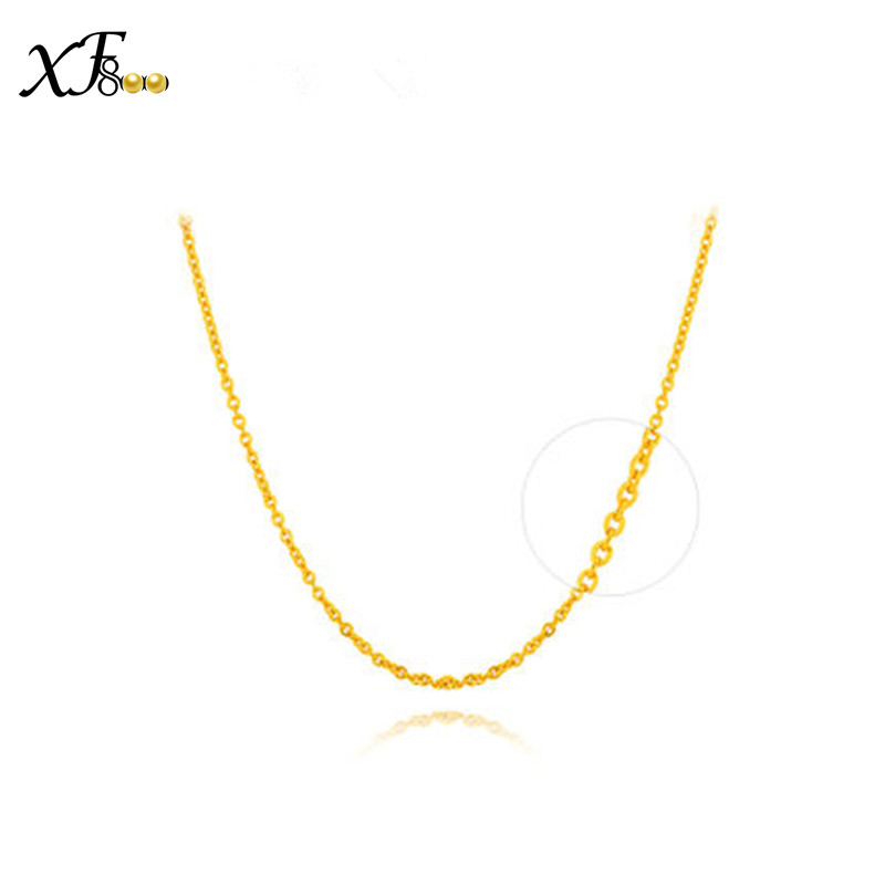 XF800 100% 18k Gold Necklace Real Au750 Yellow Gold 40cm/45cm Chain Wedding Party Gift Romantic For women Girl D20601 genuine 18k white yellow gold chain 40cm 45cm 1mm thickness au750 cost price necklace wedding party gift for women