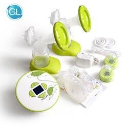 Marke GL Elektrische Doppel Brust Pumpe mit Fütterung Geschenk Verpackung 30 stücke Brust Milch Lagerung Taschen + Fütterung Bh + 6 stücke Pflege Pads