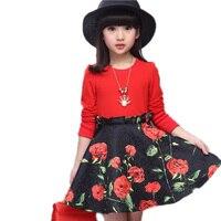 New Girl floral princess dress ruffle patchwork kids party dress long sleeve autumn girls dress baby kids dress children clothes