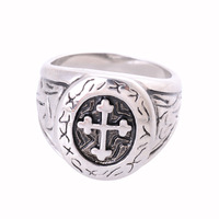 New Design Antique Silver Plated Stainless Steel Cross Rings For Men Vintage Retro Ring Punk Jewelry