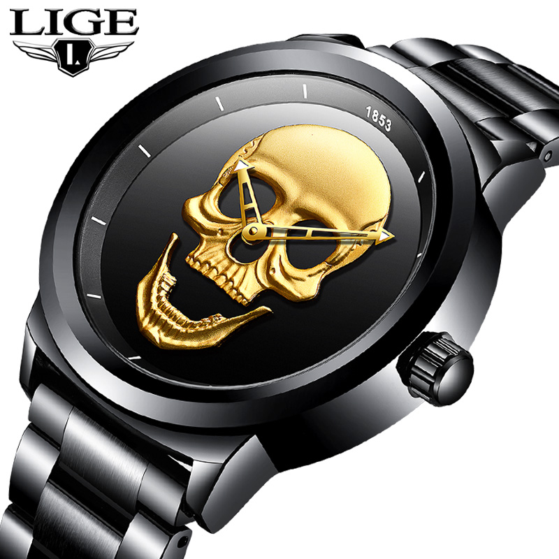 LIGE Skeleto Men Watch Top Brand Casual 3D Skull Full Steel Waterproof Military Sports Male Quartz Wrist Watch Relogio Masculino