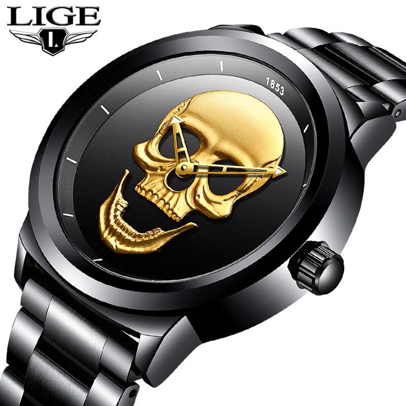Lige skeleto men assista topo marca casual 3d crânio cheio de aço à prova dmilitary água militar esportes masculino relógio de pulso de quartzo relogio masculino