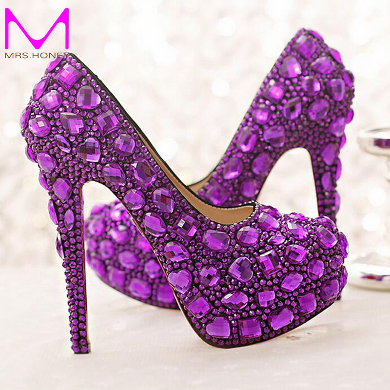 ФОТО Purple Crystal Bridal Shoes High Heel Platforms Handmade Beautiful Rhinestone Wedding Party Shoes Luxury Graudation Prom Pumps