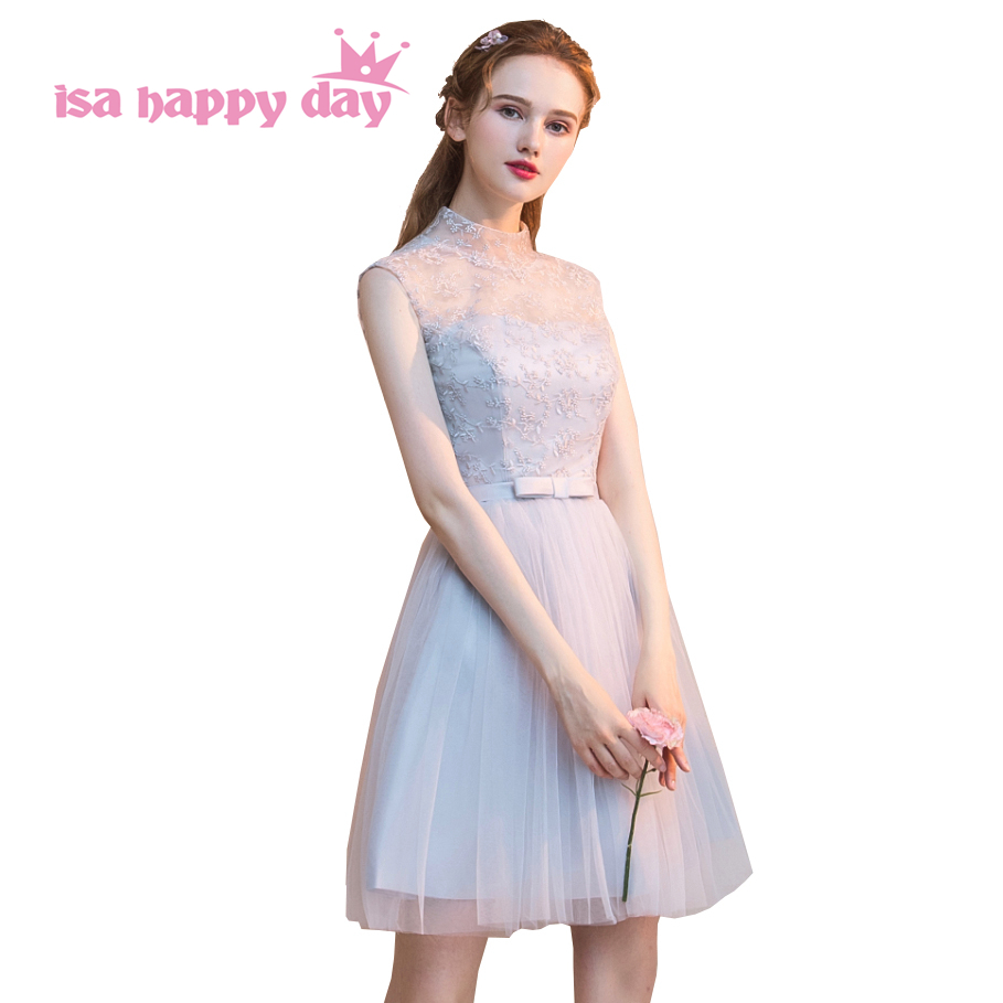 Girl Teen Princess Pretty Grey Tulle Bridesmaid Occasional Tulle Dresses Formal Party Ball Gown Dress Short For Girls H4255