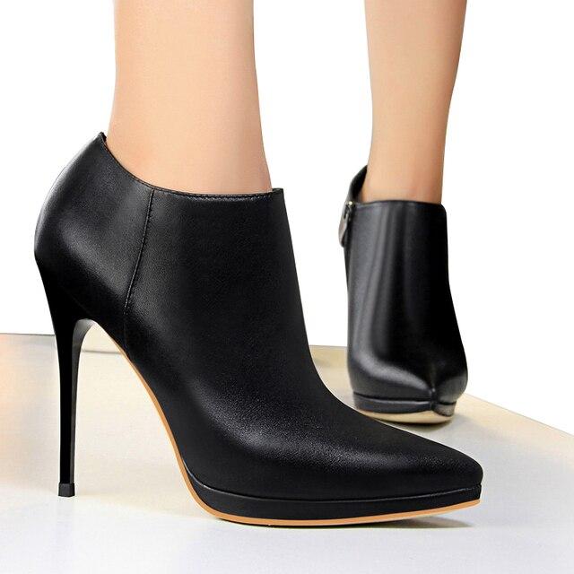 Luzhimei Женские ботинки на весну, Высокие каблуки 8 см ботильоны женская обувь модные острый носок кожаные Сапоги и ботинки для девочек