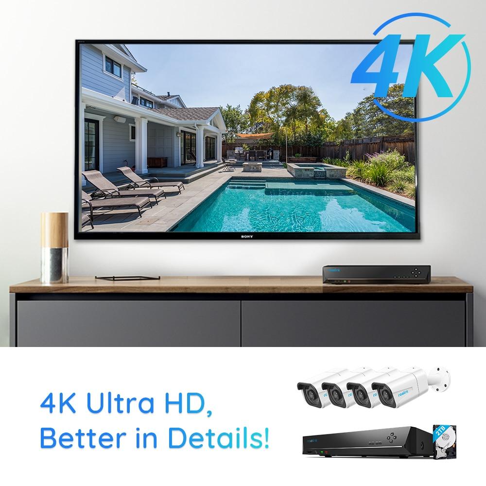 Reolink – caméra de sécurité extérieure, Kit NVR 4K 8ch 8MP plus 8ch 4K NVR 2TB HDD, IP66 RLK8-800B4 2