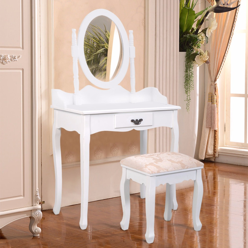 Goplus Black White Vanity Wood Makeup Dressing Table Stool Set Modern Dressers for Bedroom With Swivel Mirror and Stool HW52600