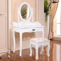 Goplus Black White Vanity Wood Makeup Dressing Table Stool Set Modern Dressers for Bedroom With Swivel Mirror and Stool HW52600