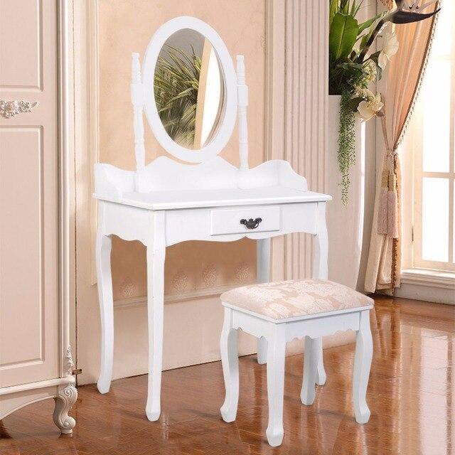 goplus noir blanc vanite bois maquillage coiffeuse tabouret ensemble moderne commodes pour chambre avec pivotant miroir