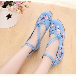 Image 4 - Veowalk Flowers Embroidered Women High Top Canvas Hidden Flat Platforms Ankle Dual Strap Ladies Casual Denim Cotton Shoes
