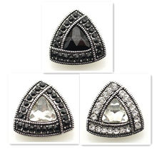 20MM Crystal styles snap Antique Silver Plated with white Section glass and black rhinestone snaps jewelry KB8913(China)