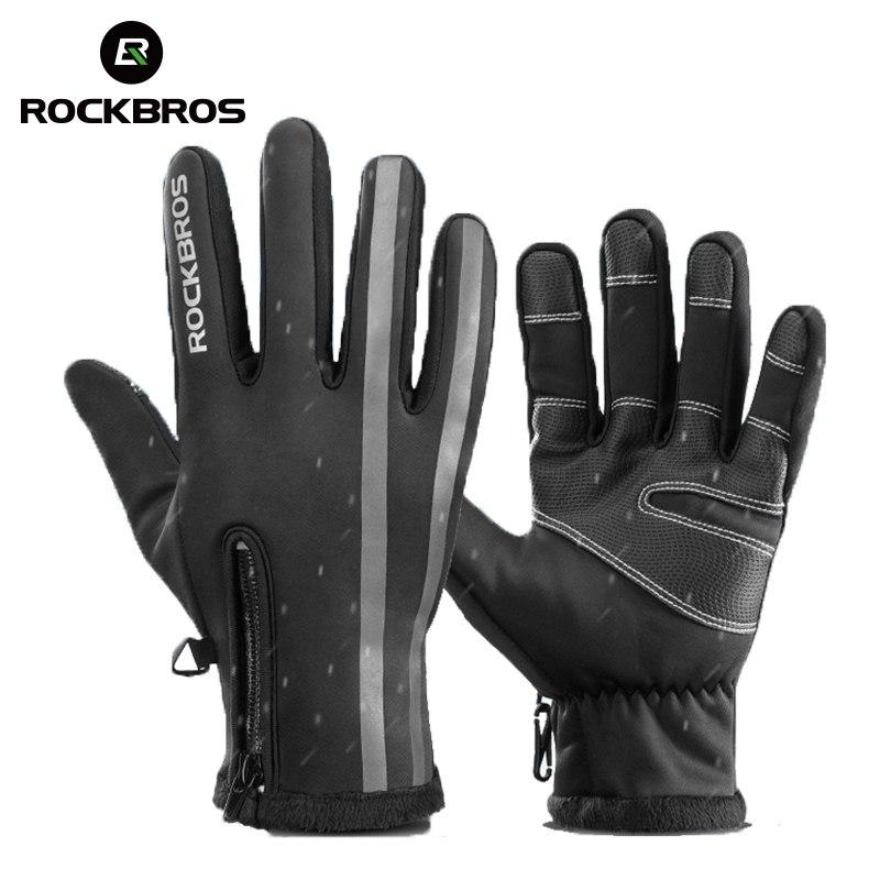 ROCKBROS Велоспорт Зимние сенсорный экран велосипедные перчатки теплые непромокаемые полный палец велосипедные перчатки ветрозащитные термо...