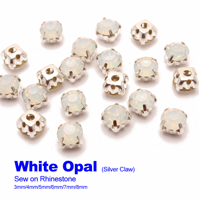 Sew on Rhinestones White Opal Silver claw 4mm 5mm 6mm 7mm 8mm use ... a2ad1bc4edbb