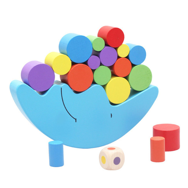 Moon Balance Game Baby Early Learning Toy For Children Wooden Toys Balancing  Colorful Blocks Baby Educational Toys
