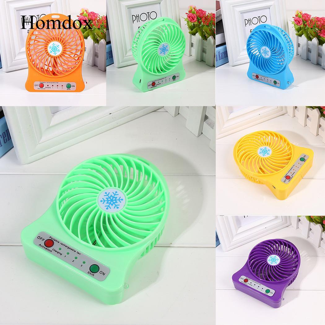 Fan Rechargeable Mini USB Portable Desk 3 Speeds Battery Operated Air Cooler Fan цена