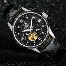 f8bd70fc1c9 Carnaval clásico Hollow hombres reloj Miyota 25 joyas cuero reloj mecánico  diamantes Acero inoxidable reloj hombre