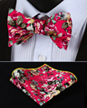 BMF403K Pink Yellow Floral 100%Cotton Jacquard Men Butterfly Self Bow Tie BowTie Pocket Square Handkerchief Hanky Suit Set