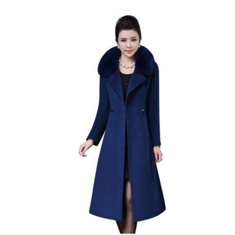 La Cachemire Haute Plus De Manteau red D'hiver Veste Nouvelle Femmes Fourrure Corée black khaki Mode Wine Manteaux Taille Purple blue Col Élégant Qualité Femme Laine qqEwax4nrz