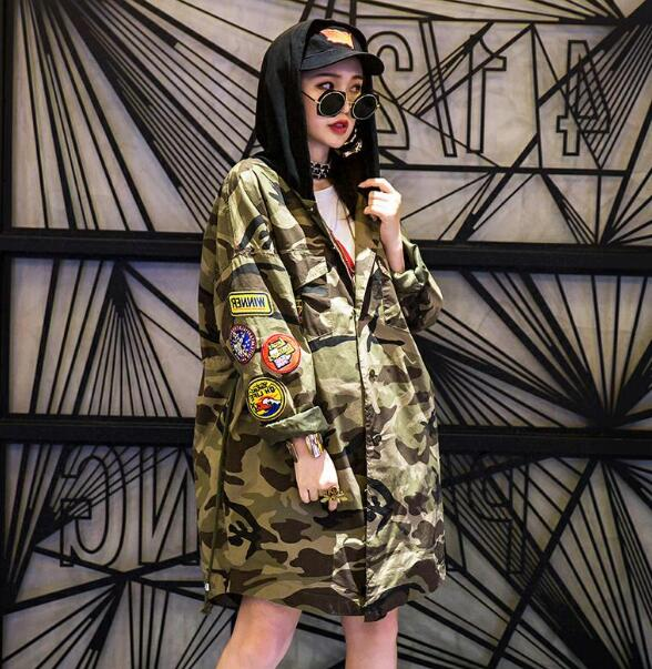 Women High Street Hooded Camouflage Jacket BF Design Harajuku Long Coat Large Size Casual Loose Patches