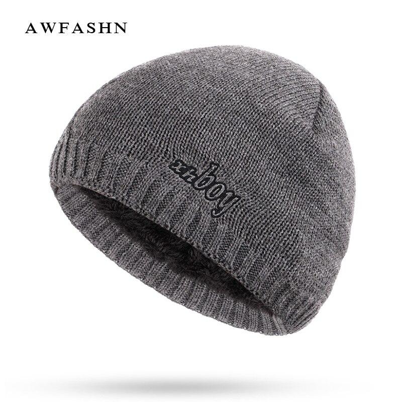 Men's Skullies & Beanies New Fashion Xhboy Solid Color Knit Beanie Hat Winter Men Plus Velvet Thicken Hedging Cap Warm Brand Skullies Bine Male Ski Sport Men's Hats