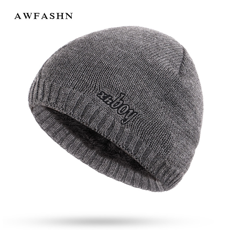 New Fashion XHBOY Brand Knit   Beanie   Hat Plaid Stripes Men's Winter Hats Warm Plus Velvet Thicken Hedging Cap   Skullies   Bone Male