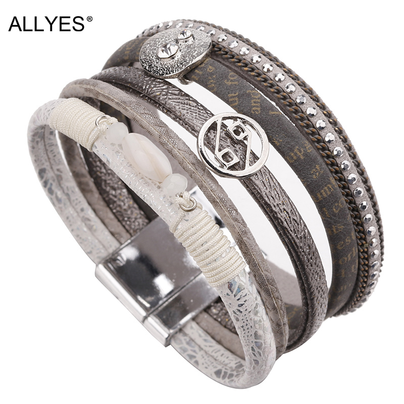 ALLYES Multilayer Bracelets For Women Femme Crystal Vintage Wide Alloy Charm Leather & Bangles Female Jewelry