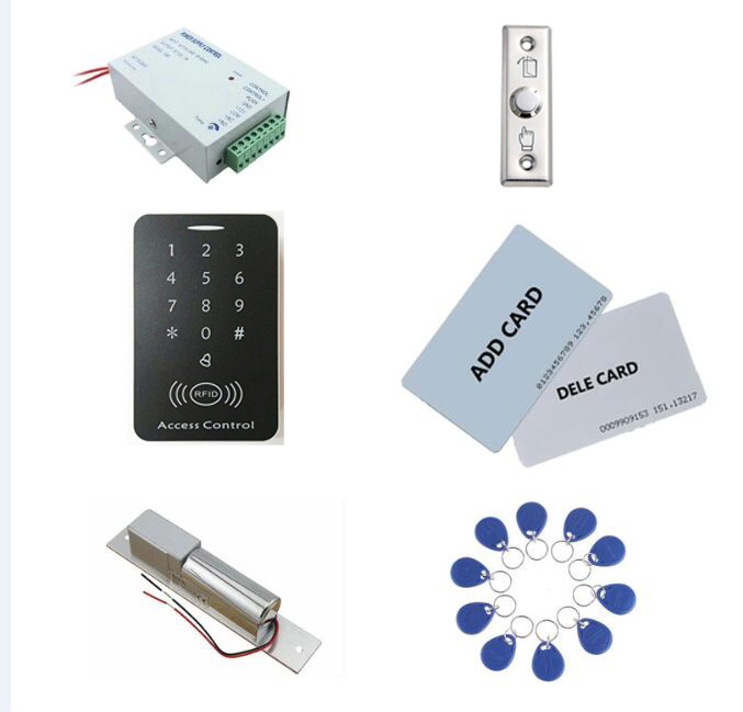 Access control kit,em/ ID keypad access control+ power+bolt lock+exit button+2pcs manage card, 10 keyfob ID tags,sn:set-2