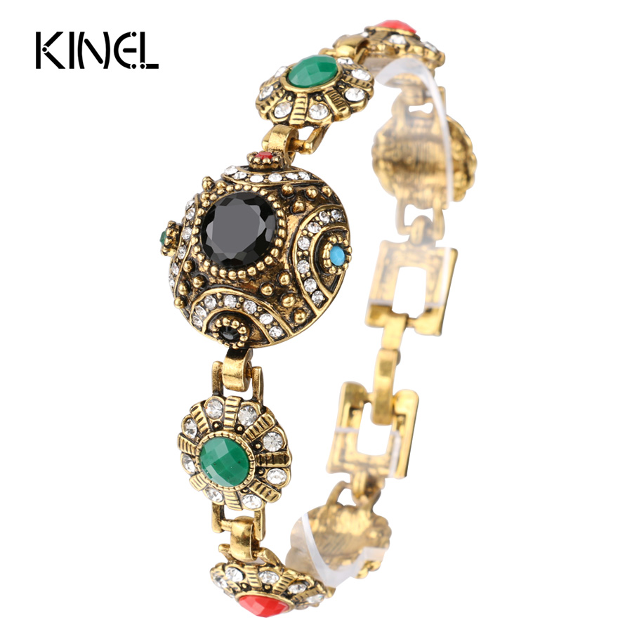 2017 Fashion Bohemian Bangles For Women Alloy Color Ancient Gold Unique Black Resin Bracelet Vintage Jewelry Crystal Gifts
