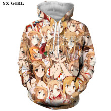 YX Girl Harajuku Womens Clothes Outfits 3d Print Pullover Anime Hoodies for Women Men Streetwear Unisex Tops plus size