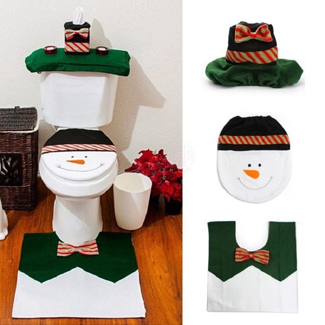 Christmas Bath Mat 3pc/set Snowman Toilet Seat Cover Bathroom Rug Carpet Tank Cover New Year Home Decorations Toilet Cover
