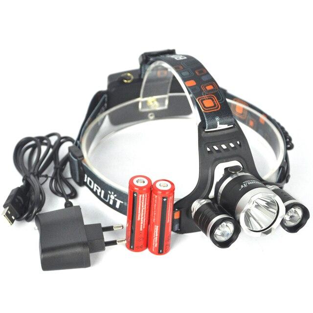 Boruit 3x XML T6 LED 18650 Headlight Headlamp 6000 Lumen Hunting Linternas Frontales Cabeza Head Flashlight Lamp+Battery Charger