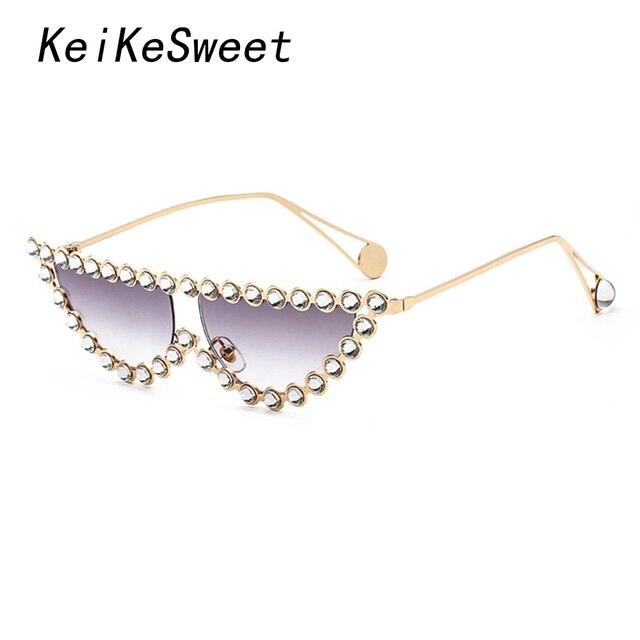 KeiKeSweet de la marca de lujo de cristal de diseño de Mujer Transparente caliente gafas de sol de moda de diamantes de imitación rayos italiano de ojo de gato gafas de sol