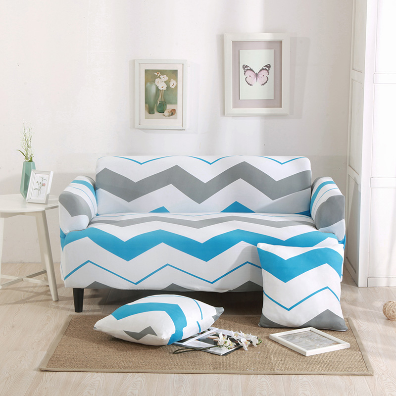 Blue And Grey Stripes Universal Stretch Furniture Covers