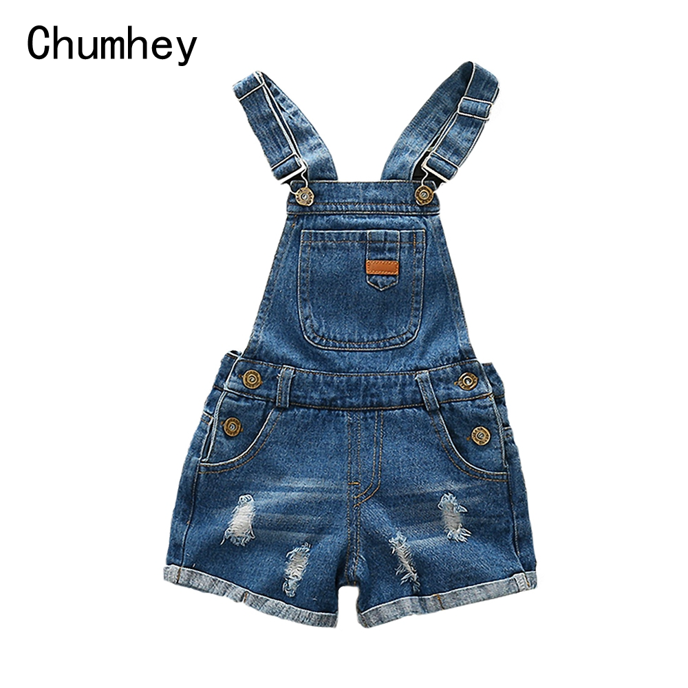 Chumhey 2-14T Kids Overalls Summer Boys Girls Denim Shorts Jeans Tollder Rompers Children Clothes Bebe Jumpsuit Child Clothing