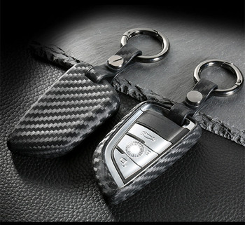 Carbon fiber Car key Cover Case for BMW X1 X5 F15 X6 F16 G30 7 Series G11 X1 F48 F39 218i Remote Key Bag fit bmw blade Keychain image