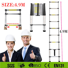 Hot sale Strong 4.9M aluminum telescopic ladder with the latest EN131 certificated Safe Doorways