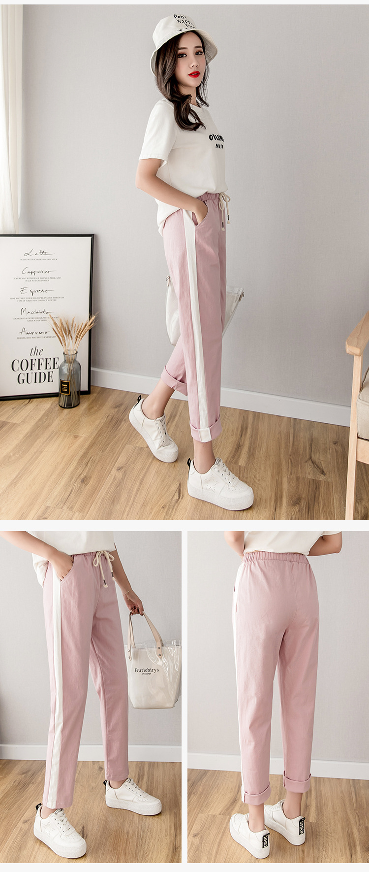 Cotton Linen Ankle Length Pants Women's Spring Summer Casual Trousers Pencil Casual Pants Striped Women's Trousers Green Pink 8