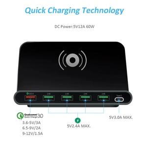 Image 3 - Stod qi carregador sem fio 10w estação de carregamento usb 60 carga rápida 3.0 suporte para iphone x samsung huawei nexus mi USB C adaptador