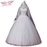 AnXin SH mùa thu và mùa đông cộng với kích thước trắng ống băng đầu mỏng ren cô dâu váy công chúa váy cưới