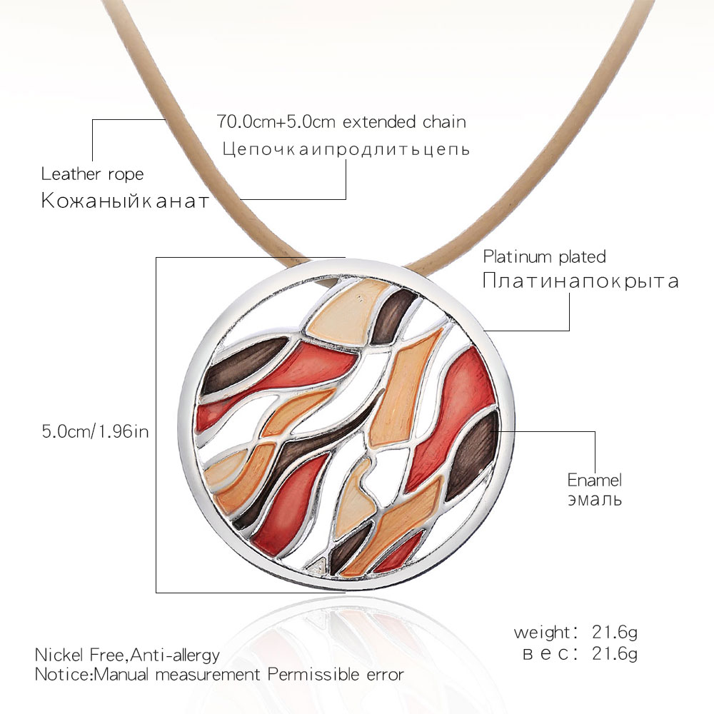 Colorful Paint Big Round Pendant Necklace Long Leather Rope Statement Necklace Choker For Women Jewelry collares de moda 2019 in Pendant Necklaces from Jewelry Accessories