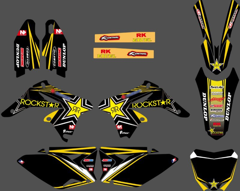 0122 Black Star New TEAM  GRAPHICS & BACKGROUNDS DECALS STICKERS Kits  for  RMZ250 2010 2011 2012