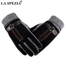 LA SPEZIA Mens Gloves Warm Pigskin Male Genuine Leather Motorcycle Black Suede Knitted Thick Antiskid Winter Mitten Men