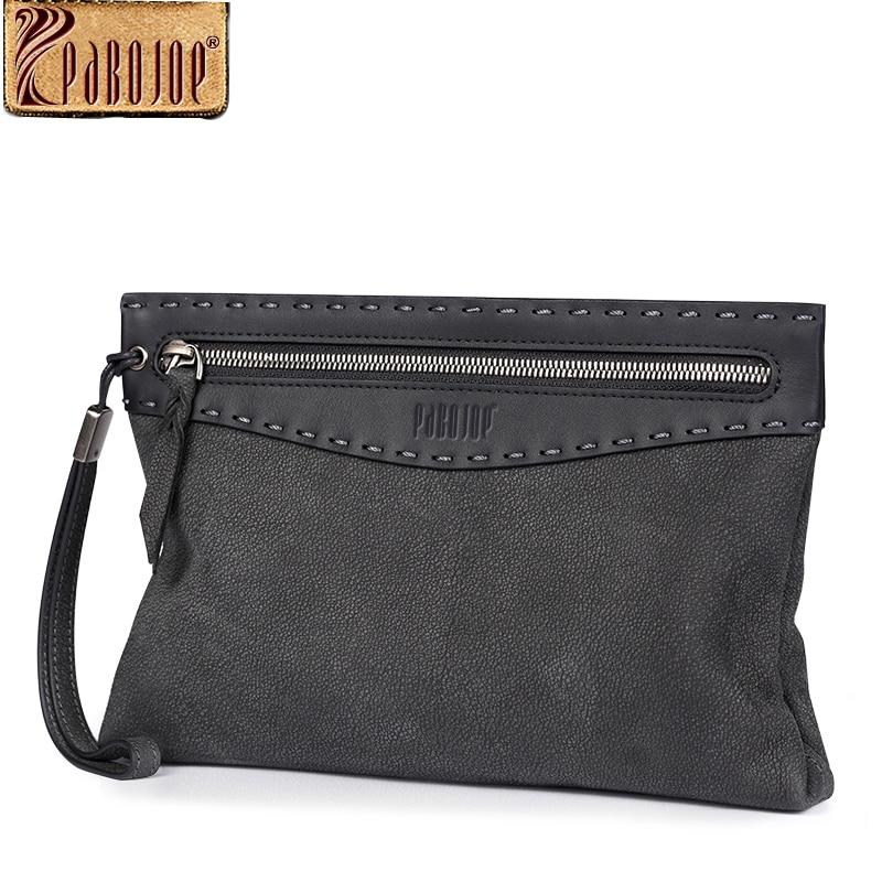 Pabojoe 2017 Vintage Genuine Leather Clutch Bag for Men Cow Leather Men Clutch Bag Zipper Male Long Wallet Man's Day Clutch genuine cow leather vintage men wallet fashion zipper