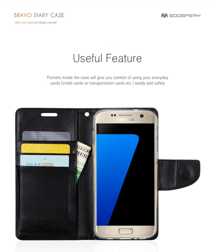 Mercury Goospery Bravo Diary Cover Flip Wallet Case For Samsung J7 Core Fancy Galaxy C5 Pro C7 Grand Prime S4 S5 S6 S7 Edge S8 Plus Note 4 5 8 In Cases From