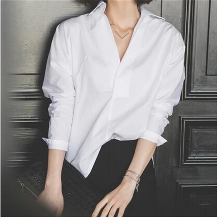 Lady Classic Fashion V Neck White Blouse Loose Long Sleeve Shirt Women Top Spring Chemise Femme Chemisier Blusa Blanca Mujer