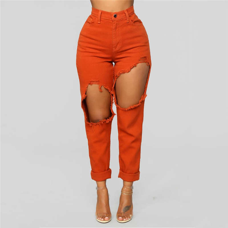 Fashion Women Stretch Jeans Female High Waist Stretch Slim Sexy Pencil Pants Personality Slim Torn Denim Jeans  Female Denim
