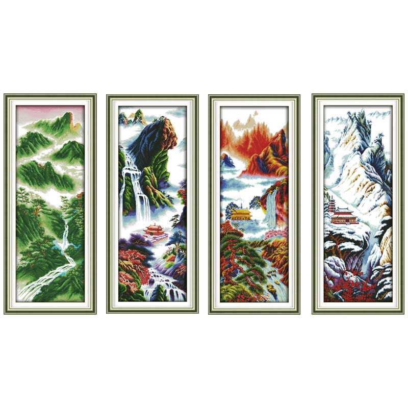 Everlasting love Spring Summer Autumn Winter Mountain Ecological cotton Cross Stitch kits DIY gift new year decorations for home