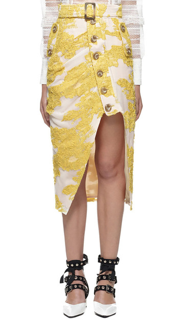 WISHBOP NEW WOMAN Luxury Runway White Straight Midi Skirt With Yellow Embroidered  Front Slits with Buttons up Waist with buckle a2fcef6e8